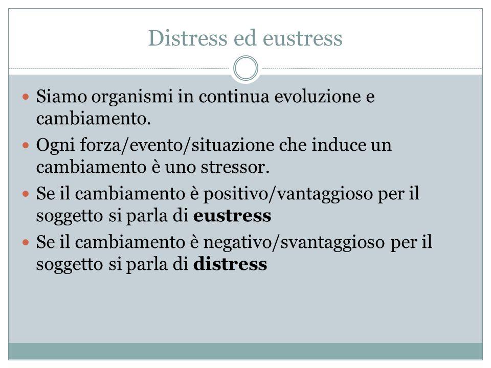 Distress ed eustress Siamo organismi in continua evoluzione e cambiamento. Ogni forza/evento/situazione che induce un cambiamento è uno stressor. Se i