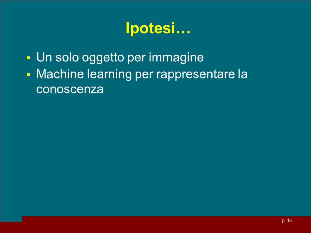 p. 15 Ipotesi… Un solo oggetto per immagine Machine learning per rappresentare la conoscenza