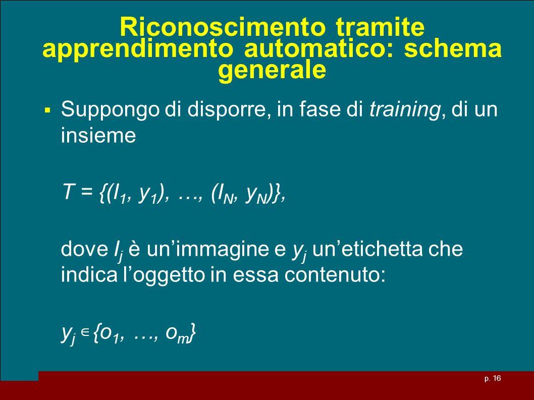 p. 16 Riconoscimento tramite apprendimento automatico: schema generale Suppongo di disporre, in fase di training, di un insieme T = {(I 1, y 1 ), …, (