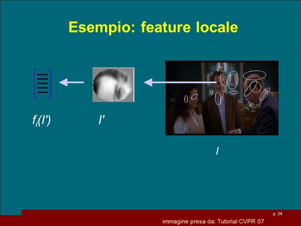 p. 24 Esempio: feature locale f i (I') I' I immagine presa da: Tutorial CVPR 07