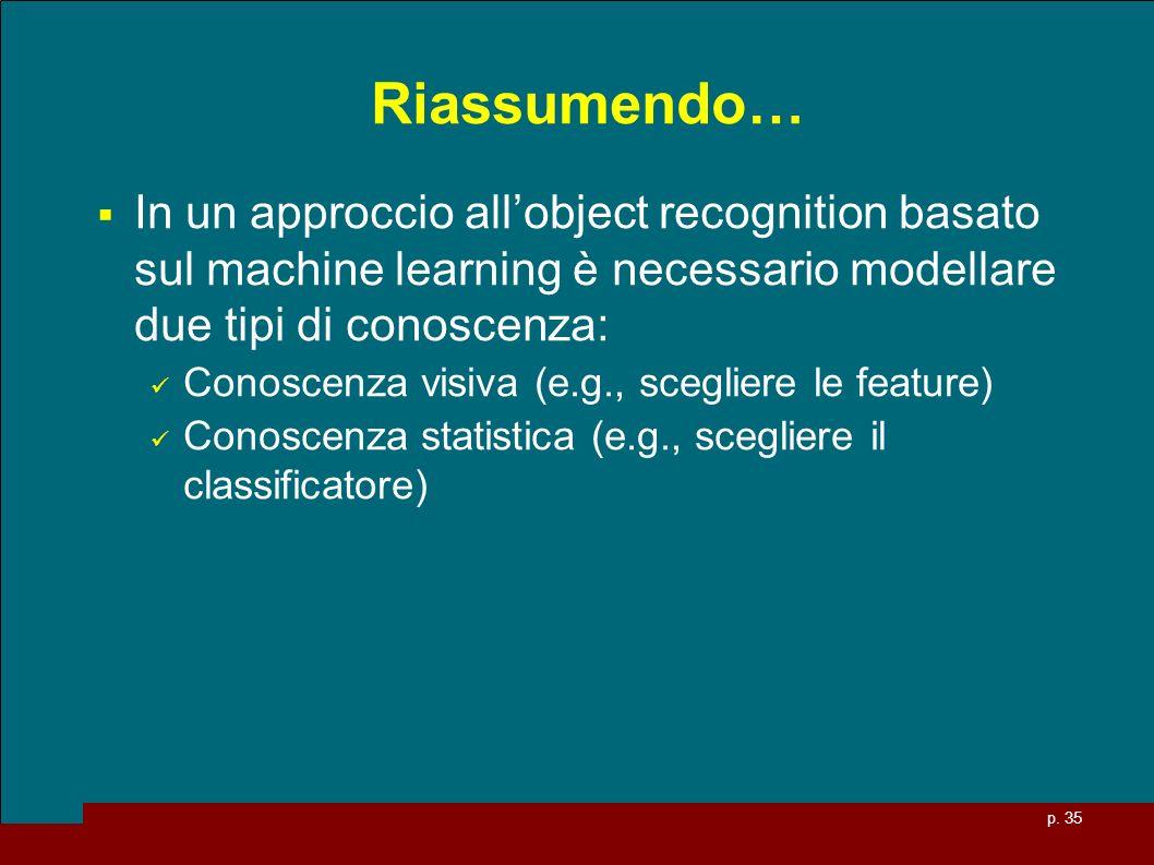 p. 35 Riassumendo… In un approccio allobject recognition basato sul machine learning è necessario modellare due tipi di conoscenza: Conoscenza visiva