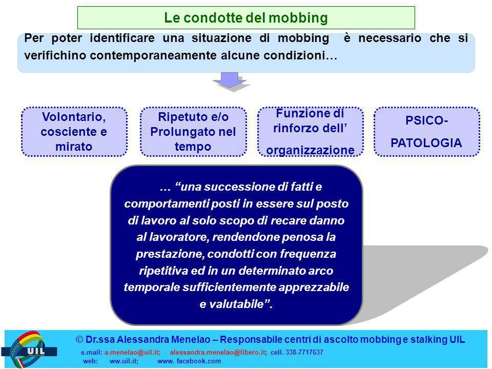 Le condotte del mobbing Per poter identificare una situazione di mobbing è necessario che si verifichino contemporaneamente alcune condizioni… Volonta