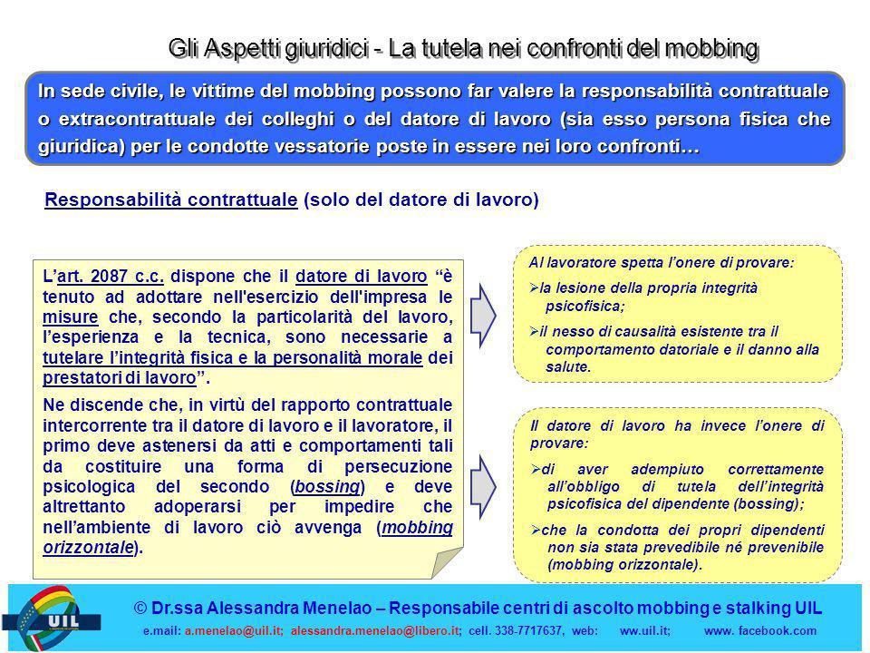 Gli Aspetti giuridici - La tutela nei confronti del mobbing Al lavoratore spetta lonere di provare: la lesione della propria integrità psicofisica; il