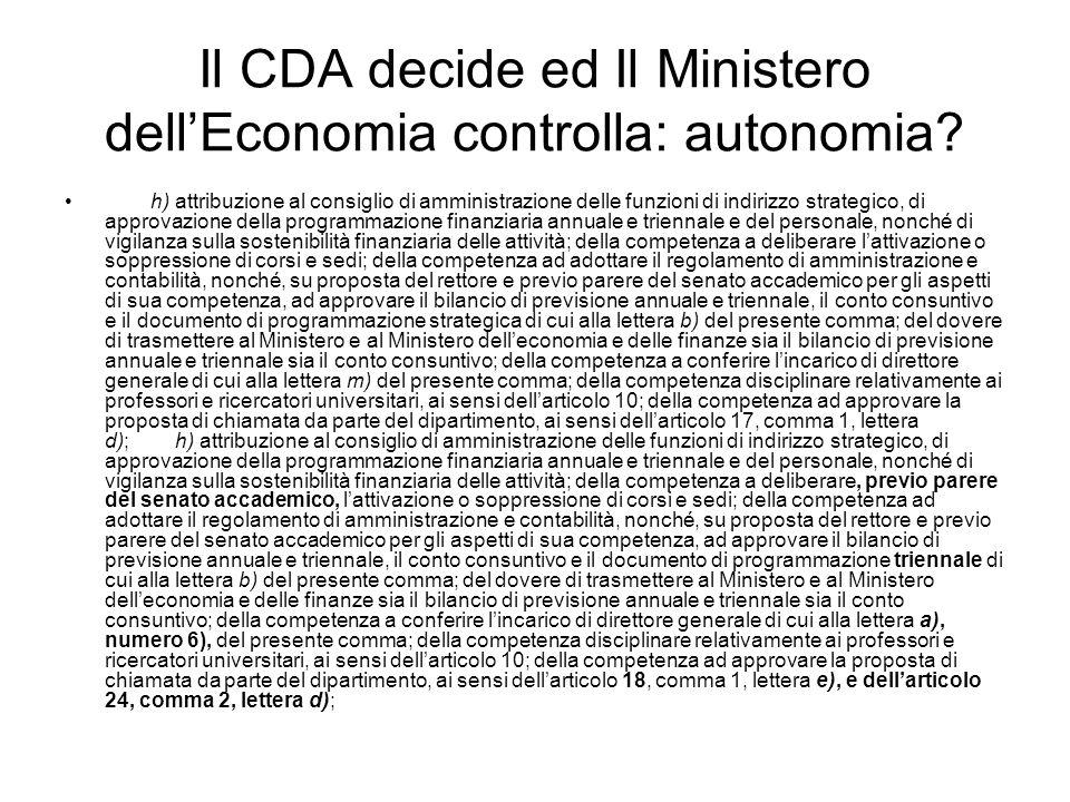 Il CDA decide ed Il Ministero dellEconomia controlla: autonomia.