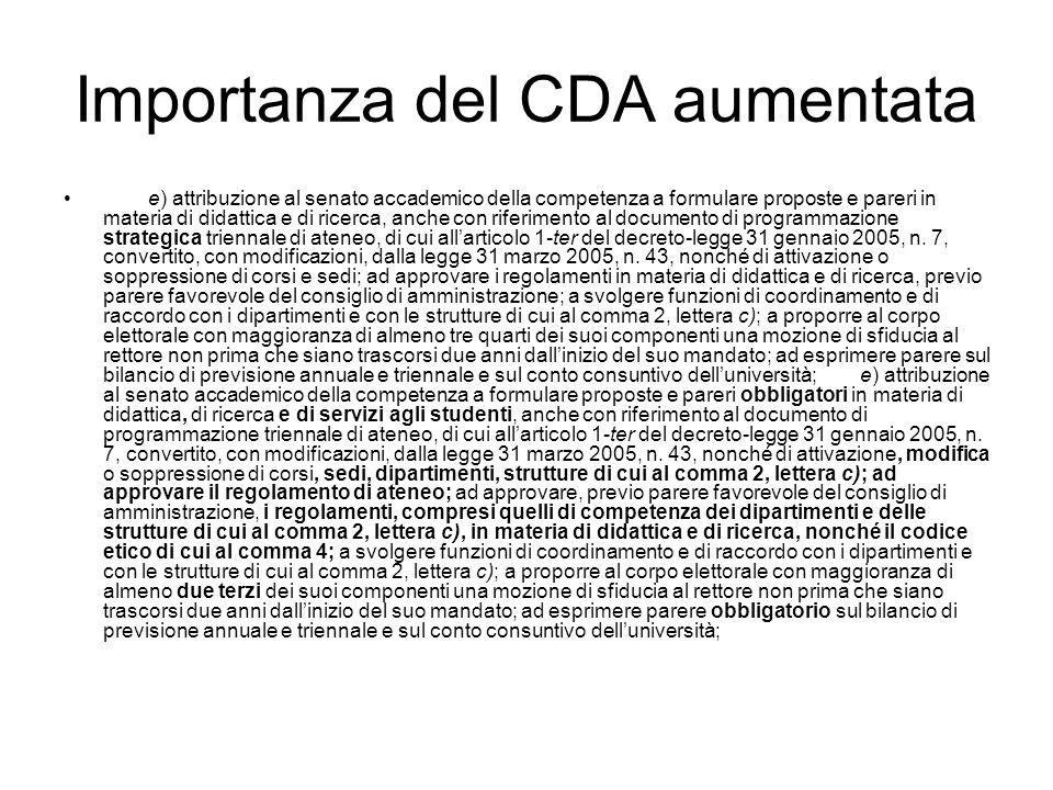 Importanza del CDA aumentata e) attribuzione al senato accademico della competenza a formulare proposte e pareri in materia di didattica e di ricerca, anche con riferimento al documento di programmazione strategica triennale di ateneo, di cui allarticolo 1-ter del decreto-legge 31 gennaio 2005, n.