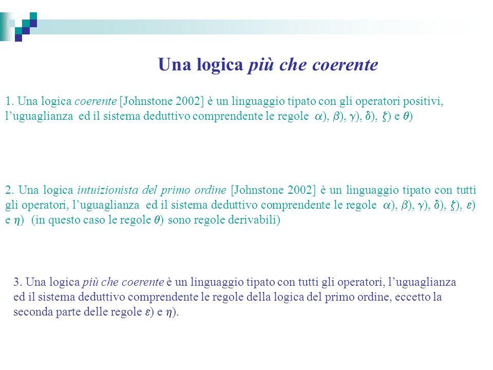 Una logica più che coerente 1. Una logica coerente [Johnstone 2002] è un linguaggio tipato con gli operatori positivi, luguaglianza ed il sistema dedu