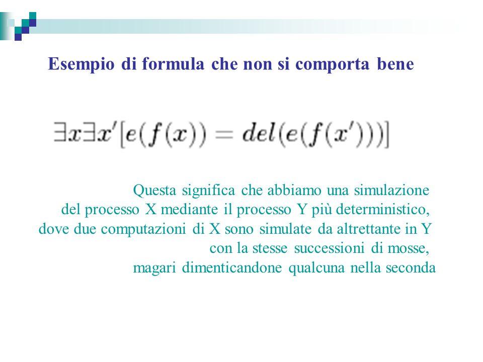 Esempio di formula che non si comporta bene Questa significa che abbiamo una simulazione del processo X mediante il processo Y più deterministico, dove due computazioni di X sono simulate da altrettante in Y con la stesse successioni di mosse, magari dimenticandone qualcuna nella seconda