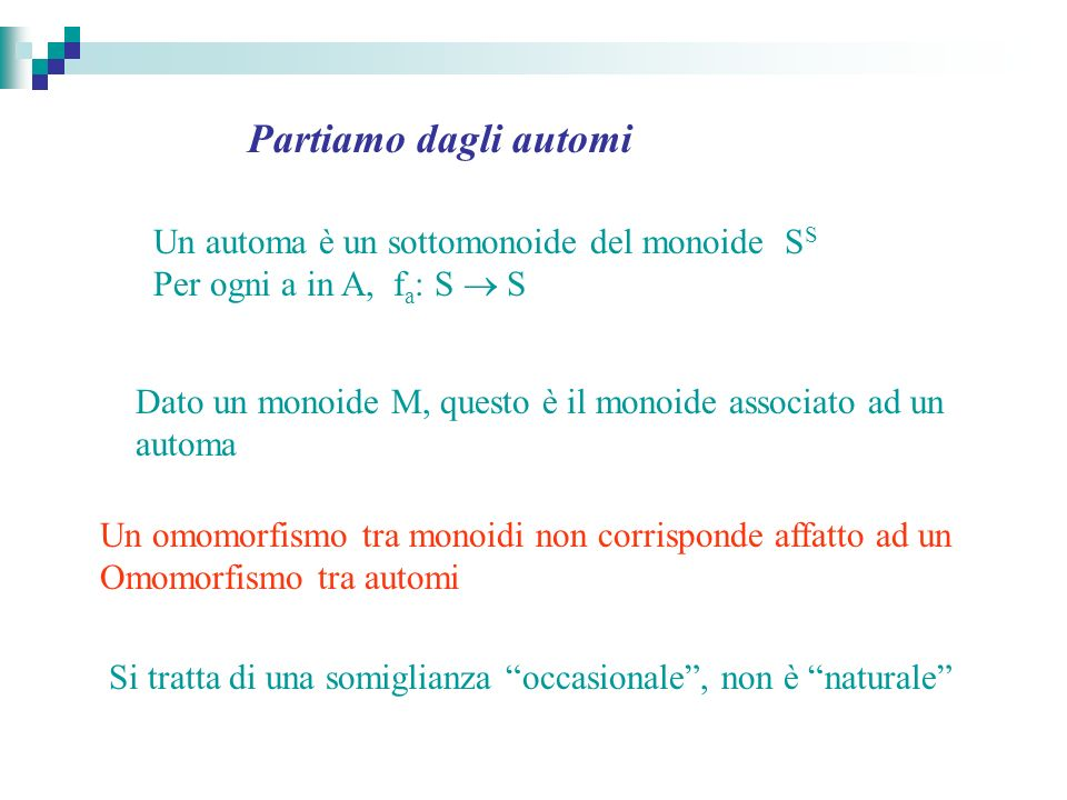 Un automa è un sottomonoide del monoide S S Per ogni a in A, f a : S S Un omomorfismo tra monoidi non corrisponde affatto ad un Omomorfismo tra automi Dato un monoide M, questo è il monoide associato ad un automa Si tratta di una somiglianza occasionale, non è naturale