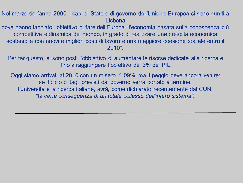 Nel marzo dellanno 2000, i capi di Stato e di governo dell Unione Europea si sono riuniti a Lisbona dove hanno lanciato l obiettivo di fare dell Europa l economia basata sulla conoscenza più competitiva e dinamica del mondo, in grado di realizzare una crescita economica sostenibile con nuovi e migliori posti di lavoro e una maggiore coesione sociale entro il 2010.