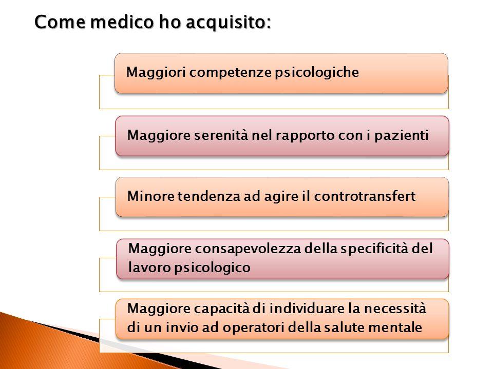 Maggiori competenze psicologicheMaggiore serenità nel rapporto con i pazientiMinore tendenza ad agire il controtransfert Maggiore consapevolezza della