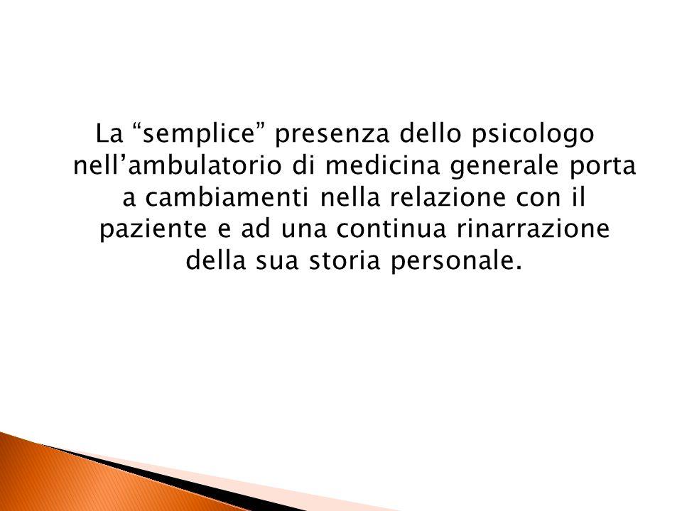 La semplice presenza dello psicologo nellambulatorio di medicina generale porta a cambiamenti nella relazione con il paziente e ad una continua rinarr