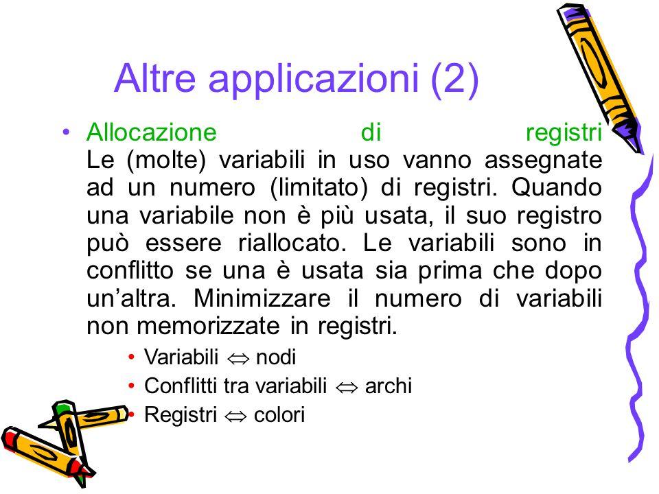 Altre applicazioni (2) Allocazione di registri Le (molte) variabili in uso vanno assegnate ad un numero (limitato) di registri.