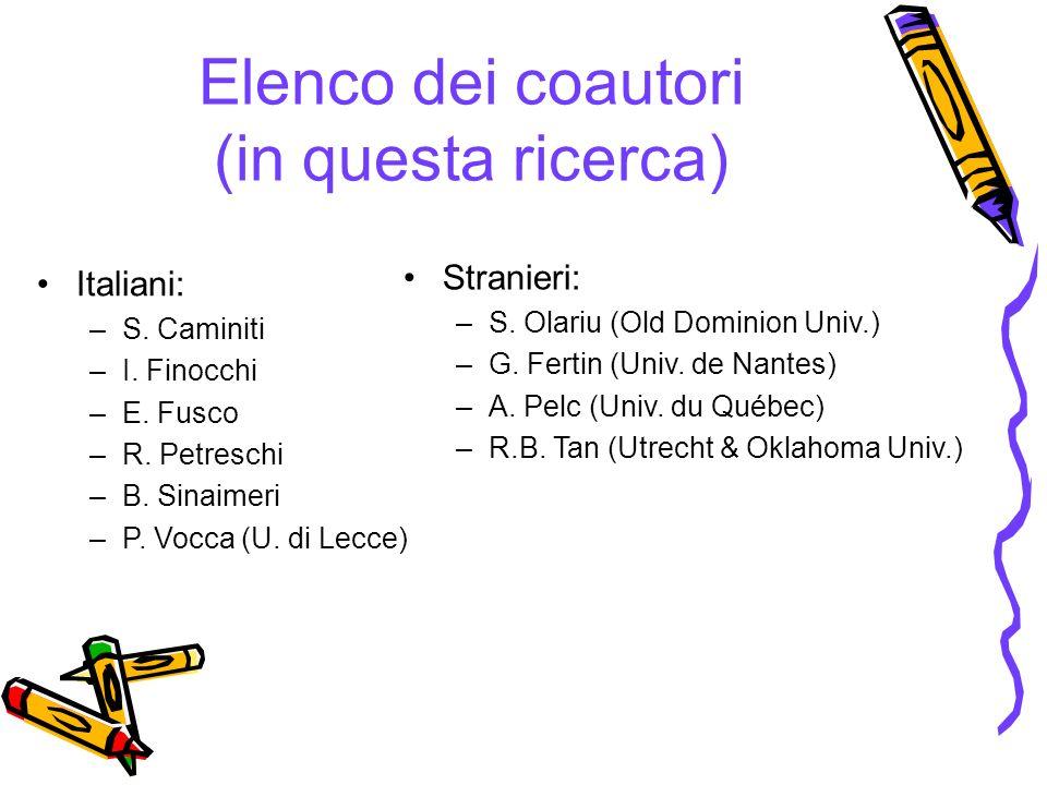 Elenco dei coautori (in questa ricerca) Italiani: –S. Caminiti –I. Finocchi –E. Fusco –R. Petreschi –B. Sinaimeri –P. Vocca (U. di Lecce) Stranieri: –