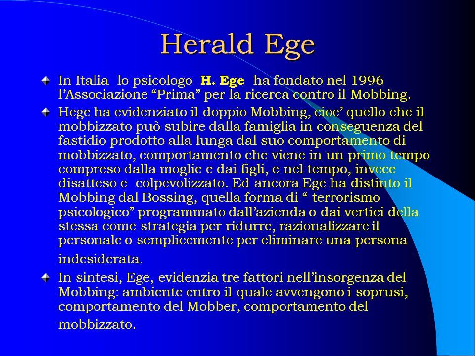 Herald Ege In Italia lo psicologo H. Ege ha fondato nel 1996 lAssociazione Prima per la ricerca contro il Mobbing. Hege ha evidenziato il doppio Mobbi