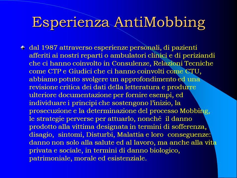 Esperienza AntiMobbing dal 1987 attraverso esperienze personali, di pazienti afferiti ai nostri reparti o ambulatori clinici e di periziandi che ci ha