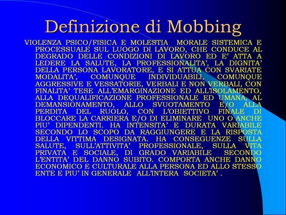 Definizione di Mobbing VIOLENZA PSICO/FISICA E MOLESTIA MORALE SISTEMICA E PROCESSUALE SUL LUOGO DI LAVORO, CHE CONDUCE AL DEGRADO DELLE CONDIZIONI DI