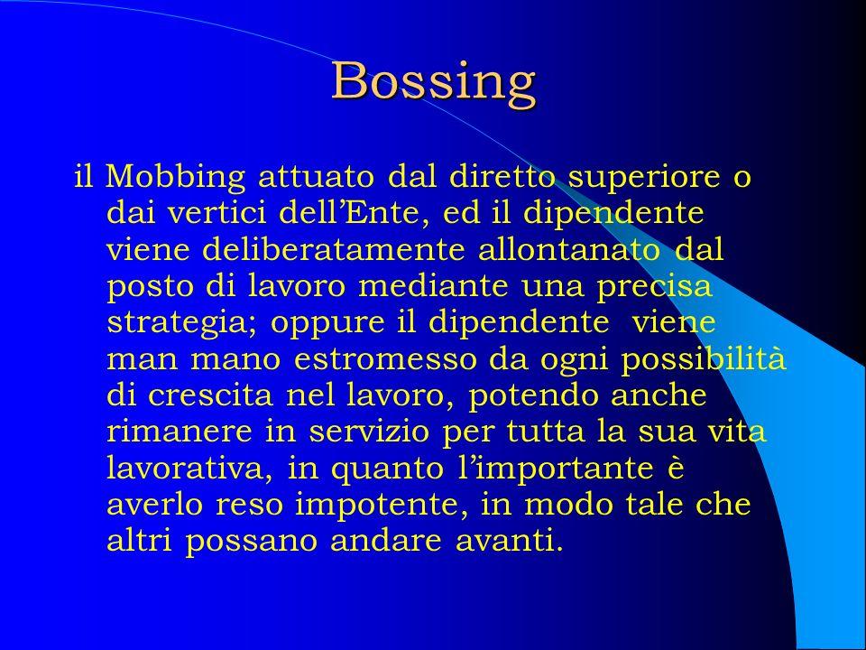 Bossing il Mobbing attuato dal diretto superiore o dai vertici dellEnte, ed il dipendente viene deliberatamente allontanato dal posto di lavoro median