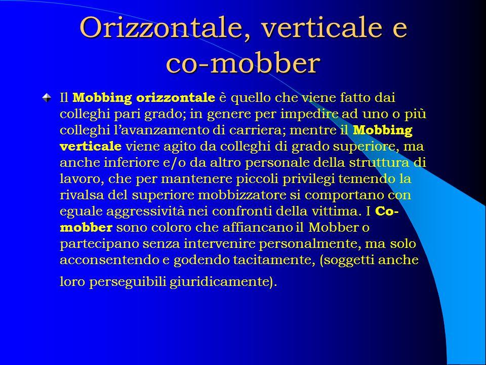 Orizzontale, verticale e co-mobber Il Mobbing orizzontale è quello che viene fatto dai colleghi pari grado; in genere per impedire ad uno o più colleg