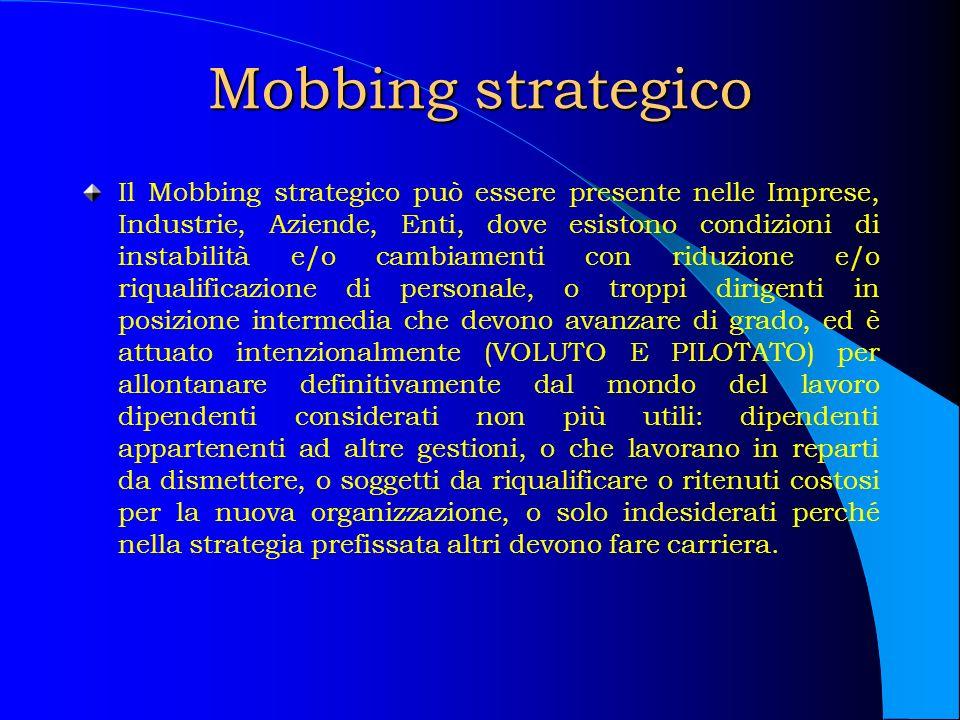 Mobbing strategico Il Mobbing strategico può essere presente nelle Imprese, Industrie, Aziende, Enti, dove esistono condizioni di instabilità e/o camb
