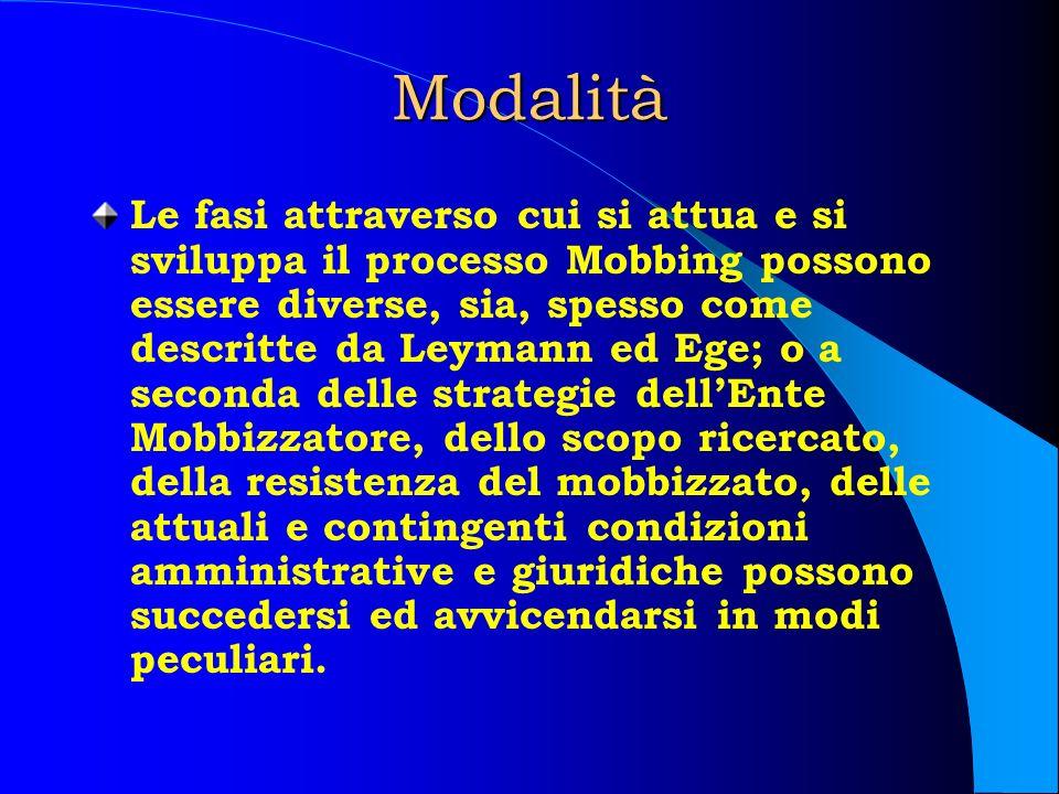 Modalità Le fasi attraverso cui si attua e si sviluppa il processo Mobbing possono essere diverse, sia, spesso come descritte da Leymann ed Ege; o a s