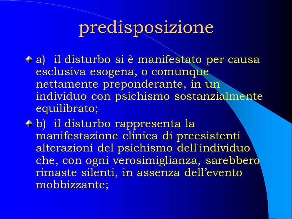 predisposizione a)il disturbo si è manifestato per causa esclusiva esogena, o comunque nettamente preponderante, in un individuo con psichismo sostanz