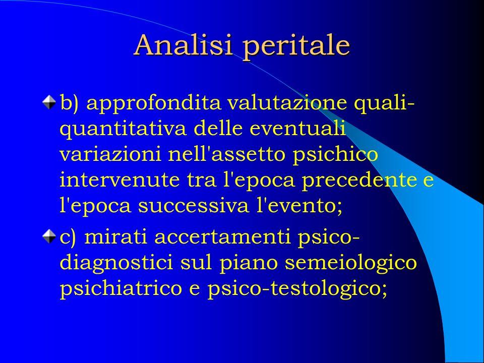 Analisi peritale b) approfondita valutazione quali- quantitativa delle eventuali variazioni nell'assetto psichico intervenute tra l'epoca precedente e