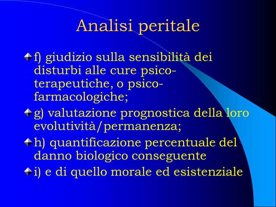 Analisi peritale f) giudizio sulla sensibilità dei disturbi alle cure psico- terapeutiche, o psico- farmacologiche; g) valutazione prognostica della l