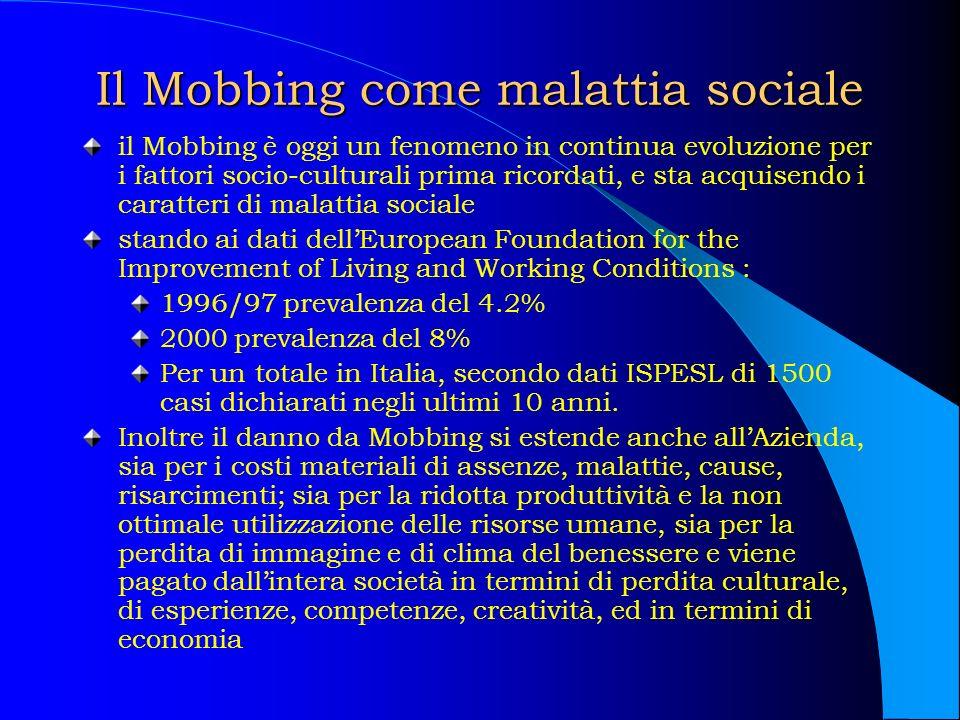 Il Mobbing come malattia sociale il Mobbing è oggi un fenomeno in continua evoluzione per i fattori socio-culturali prima ricordati, e sta acquisendo