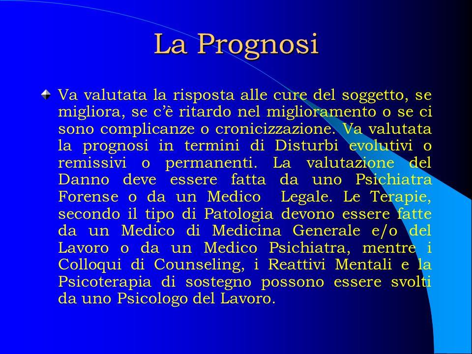 La Prognosi Va valutata la risposta alle cure del soggetto, se migliora, se cè ritardo nel miglioramento o se ci sono complicanze o cronicizzazione. V
