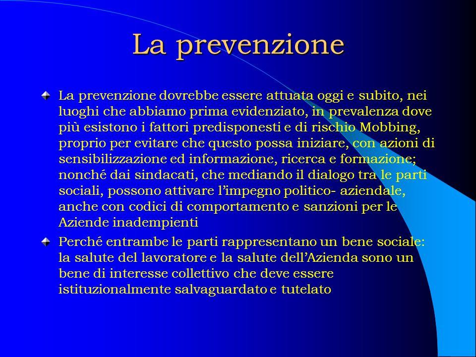 La prevenzione La prevenzione dovrebbe essere attuata oggi e subito, nei luoghi che abbiamo prima evidenziato, in prevalenza dove più esistono i fatto