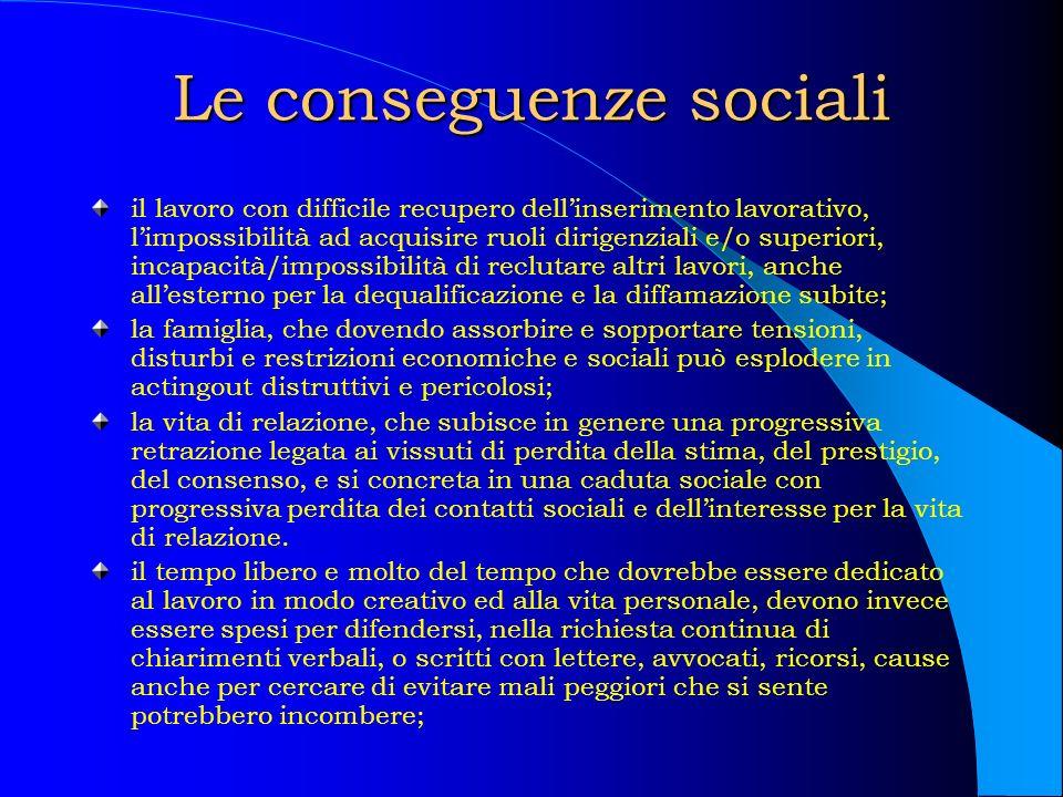 Le conseguenze sociali il lavoro con difficile recupero dellinserimento lavorativo, limpossibilità ad acquisire ruoli dirigenziali e/o superiori, inca