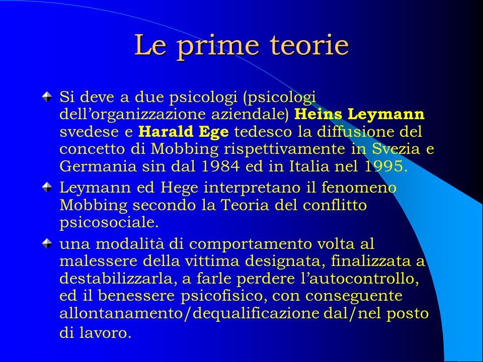 Leymann Per Leymann nel processo Mobbing devono essere studiati sei fattori: 1.Organizzazione del lavoro 2.Direzione del lavoro 3.Mansioni sul lavoro 4.Dinamica sociale del gruppo 5.Teorie di personalità 6.Eccessiva psicologizzazione
