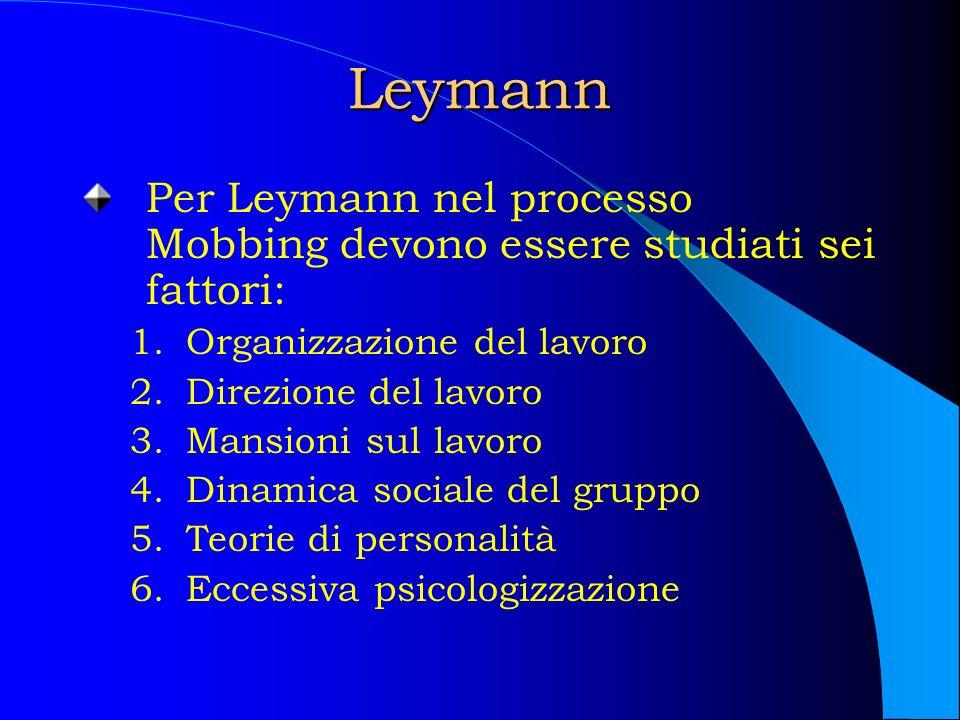 Leymann Per Leymann nel processo Mobbing devono essere studiati sei fattori: 1.Organizzazione del lavoro 2.Direzione del lavoro 3.Mansioni sul lavoro