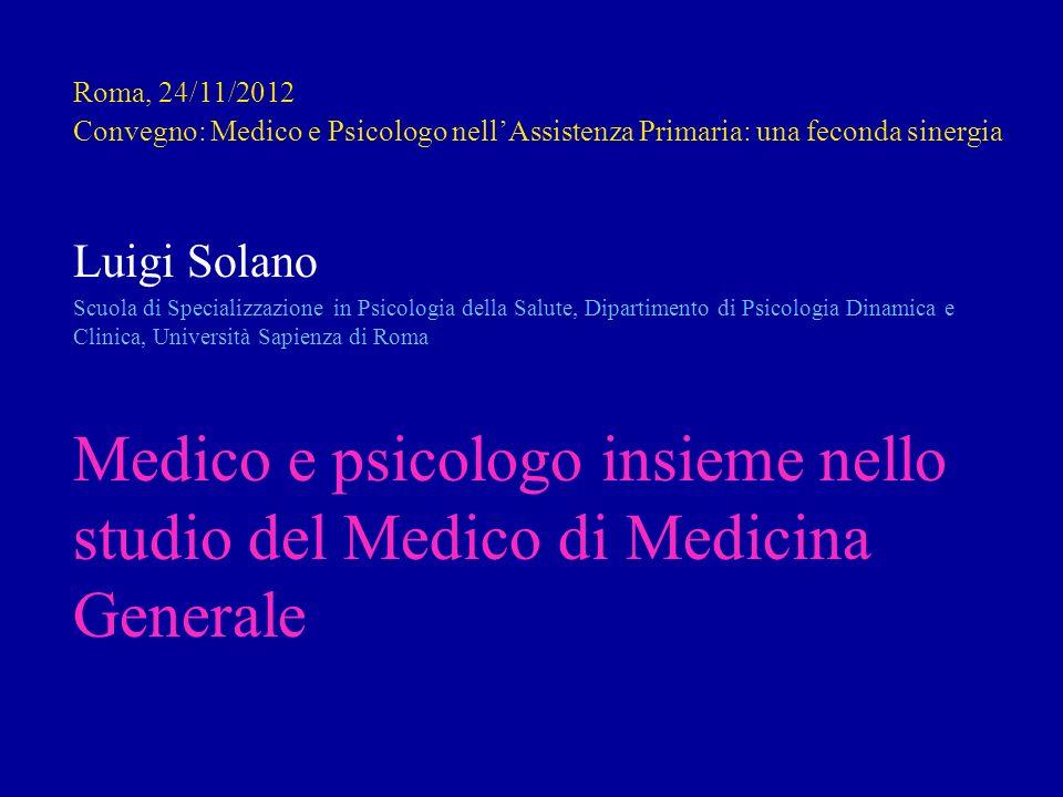Roma, 24/11/2012 Convegno: Medico e Psicologo nellAssistenza Primaria: una feconda sinergia Luigi Solano Scuola di Specializzazione in Psicologia dell