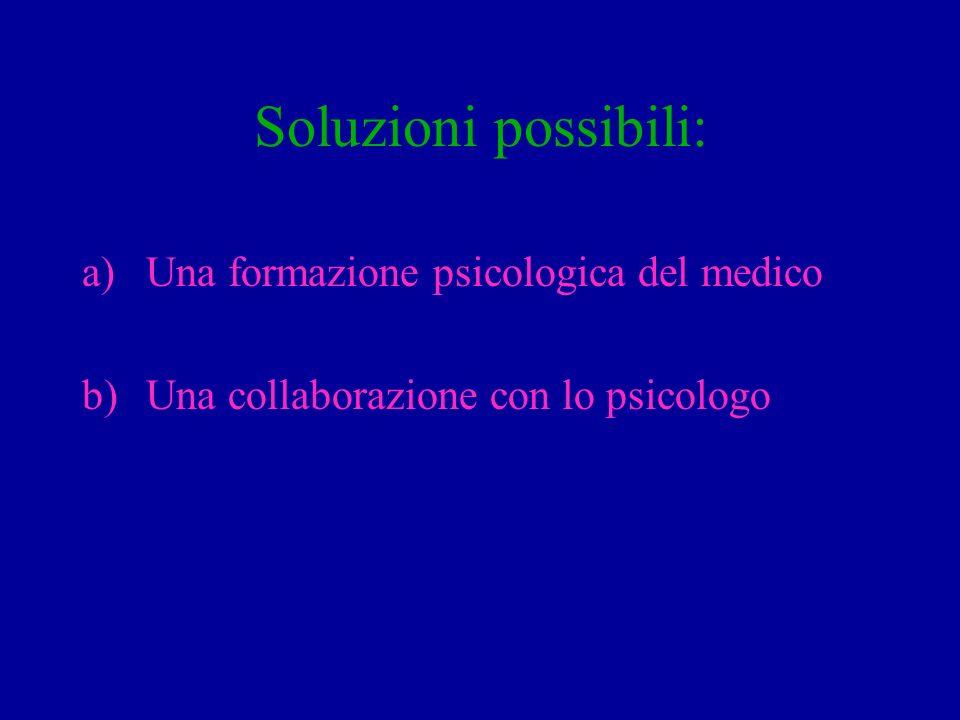 Soluzioni possibili: a)Una formazione psicologica del medico b)Una collaborazione con lo psicologo
