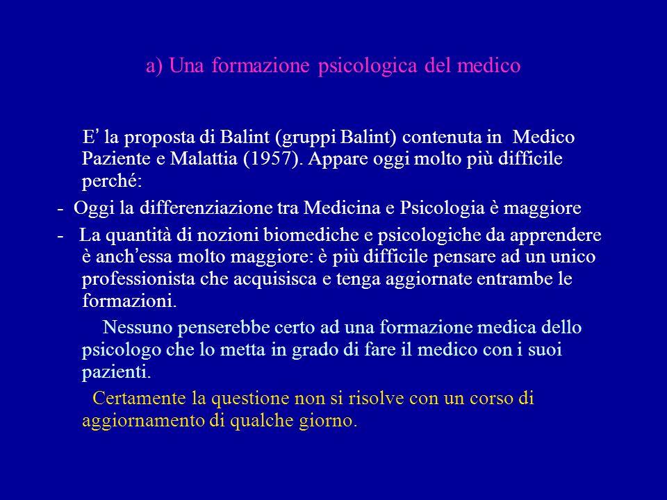 a) Una formazione psicologica del medico E la proposta di Balint (gruppi Balint) contenuta in Medico Paziente e Malattia (1957). Appare oggi molto più
