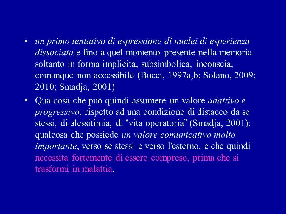 un primo tentativo di espressione di nuclei di esperienza dissociata e fino a quel momento presente nella memoria soltanto in forma implicita, subsimb