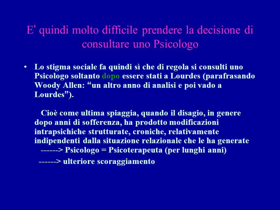 E quindi molto difficile prendere la decisione di consultare uno Psicologo Lo stigma sociale fa quindi sì che di regola si consulti uno Psicologo solt