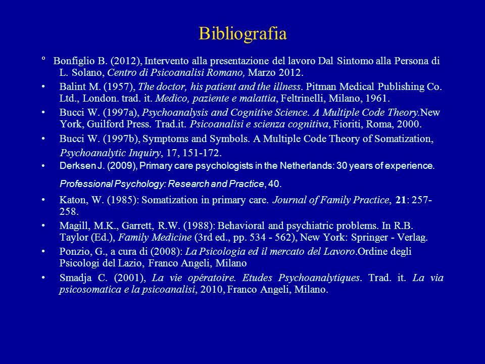 Bibliografia ° Bonfiglio B. (2012), Intervento alla presentazione del lavoro Dal Sintomo alla Persona di L. Solano, Centro di Psicoanalisi Romano, Mar