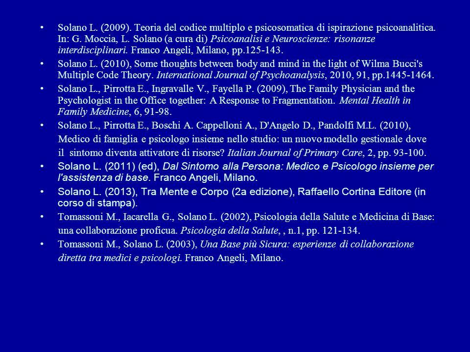 Solano L. (2009). Teoria del codice multiplo e psicosomatica di ispirazione psicoanalitica. In: G. Moccia, L. Solano (a cura di) Psicoanalisi e Neuros