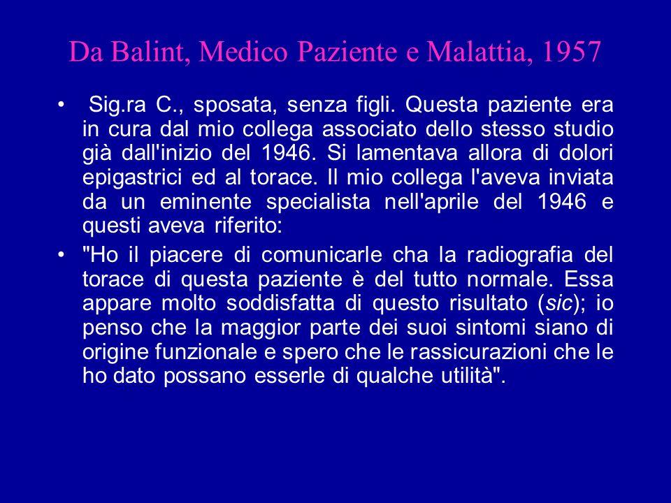 Da Balint, Medico Paziente e Malattia, 1957 Sig.ra C., sposata, senza figli. Questa paziente era in cura dal mio collega associato dello stesso studio