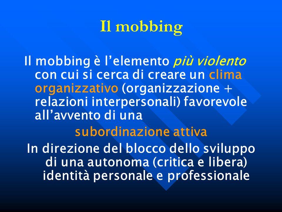 Il mobbing Il mobbing è lelemento più violento con cui si cerca di creare un clima organizzativo (organizzazione + relazioni interpersonali) favorevol