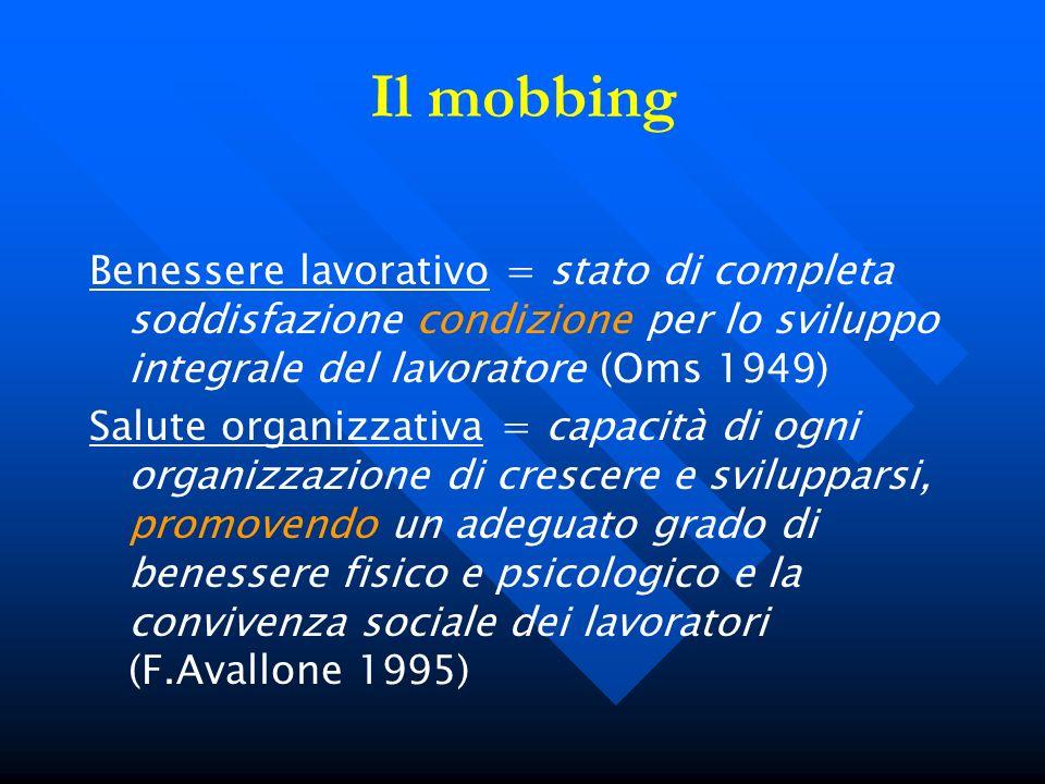 Il mobbing Benessere lavorativo = stato di completa soddisfazione condizione per lo sviluppo integrale del lavoratore (Oms 1949) Salute organizzativa