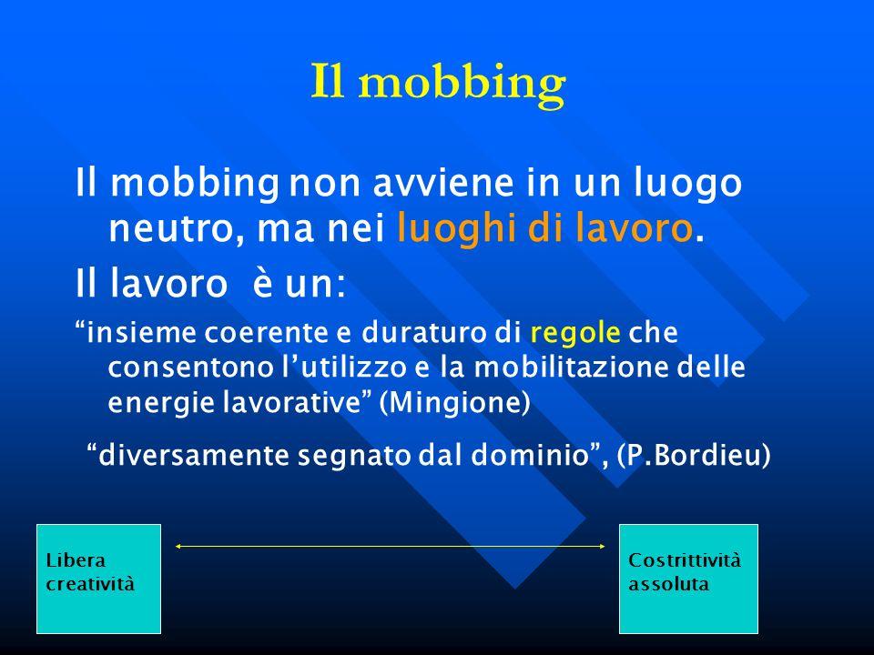 Il mobbing Il mobbing non avviene in un luogo neutro, ma nei luoghi di lavoro. Il lavoro è un: insieme coerente e duraturo di regole che consentono lu