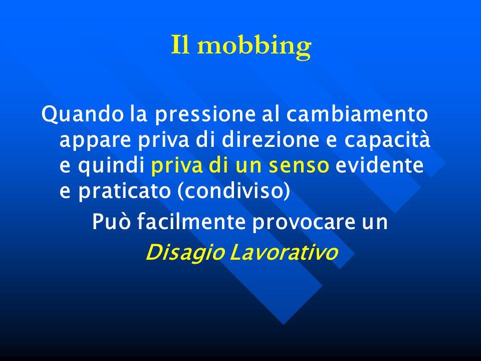 Il mobbing Quando la pressione al cambiamento appare priva di direzione e capacità e quindi priva di un senso evidente e praticato (condiviso) Può fac