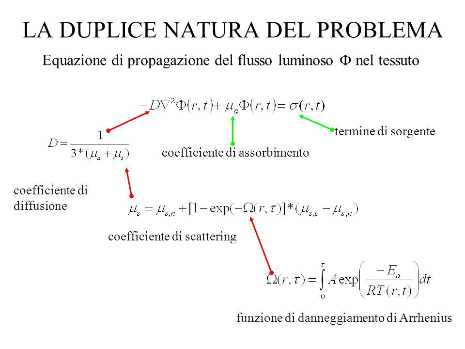LA DUPLICE NATURA DEL PROBLEMA Equazione di propagazione del flusso luminoso nel tessuto coefficiente di diffusione coefficiente di scattering coeffic
