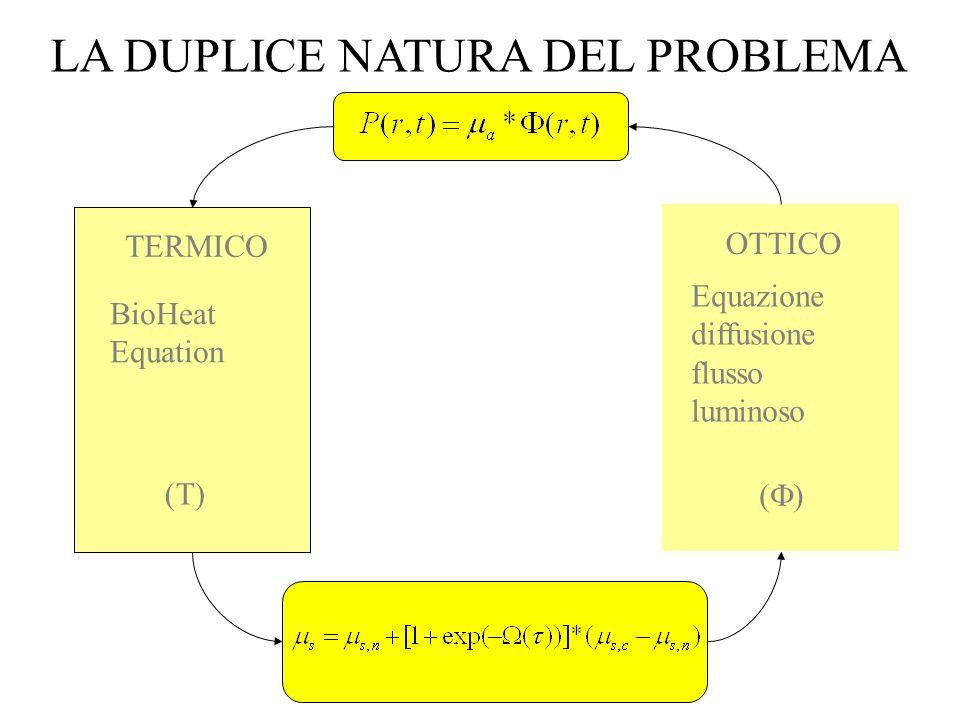 BioHeat Equation (T) Equazione diffusione flusso luminoso ( ) TERMICO OTTICO LA DUPLICE NATURA DEL PROBLEMA