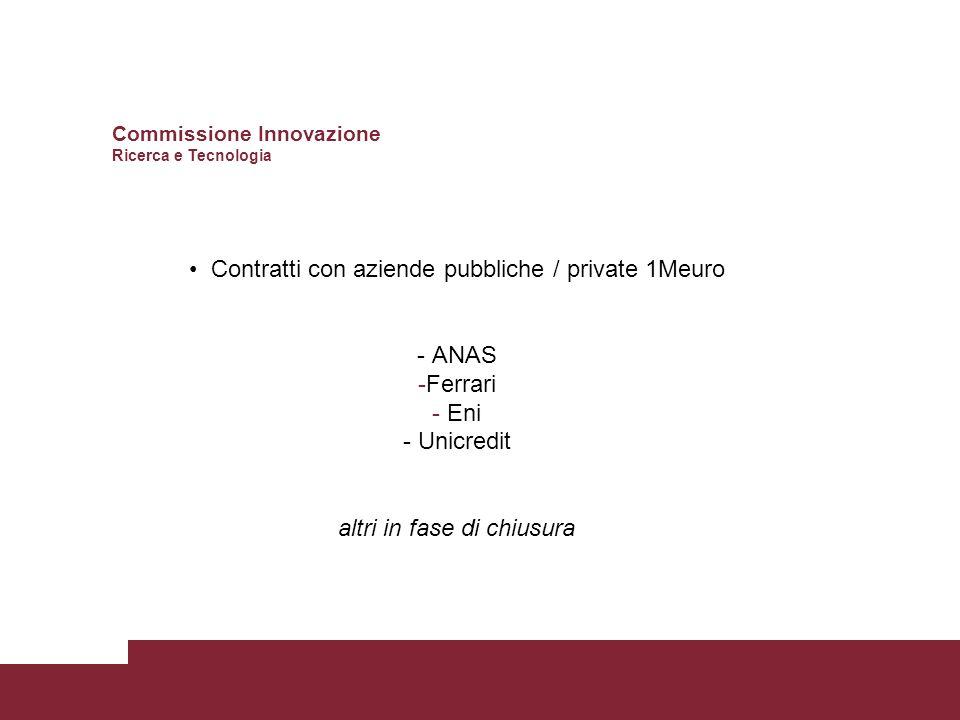 Contratti con aziende pubbliche / private 1Meuro - ANAS -Ferrari - Eni - Unicredit altri in fase di chiusura Commissione Innovazione Ricerca e Tecnologia