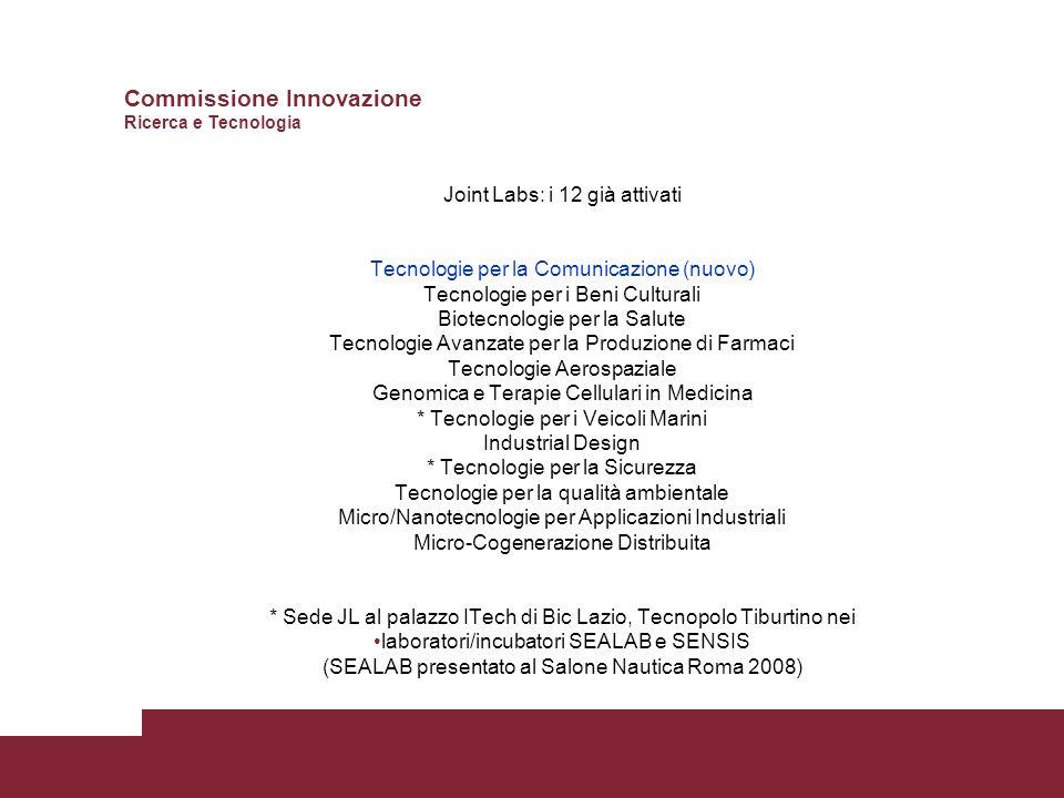 Joint Labs: i 12 già attivati Tecnologie per la Comunicazione (nuovo) Tecnologie per i Beni Culturali Biotecnologie per la Salute Tecnologie Avanzate per la Produzione di Farmaci Tecnologie Aerospaziale Genomica e Terapie Cellulari in Medicina * Tecnologie per i Veicoli Marini Industrial Design * Tecnologie per la Sicurezza Tecnologie per la qualità ambientale Micro/Nanotecnologie per Applicazioni Industriali Micro-Cogenerazione Distribuita * Sede JL al palazzo ITech di Bic Lazio, Tecnopolo Tiburtino nei laboratori/incubatori SEALAB e SENSIS (SEALAB presentato al Salone Nautica Roma 2008) Commissione Innovazione Ricerca e Tecnologia