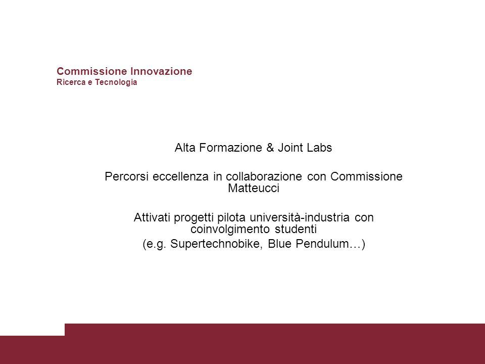 Alta Formazione & Joint Labs Percorsi eccellenza in collaborazione con Commissione Matteucci Attivati progetti pilota università-industria con coinvolgimento studenti (e.g.